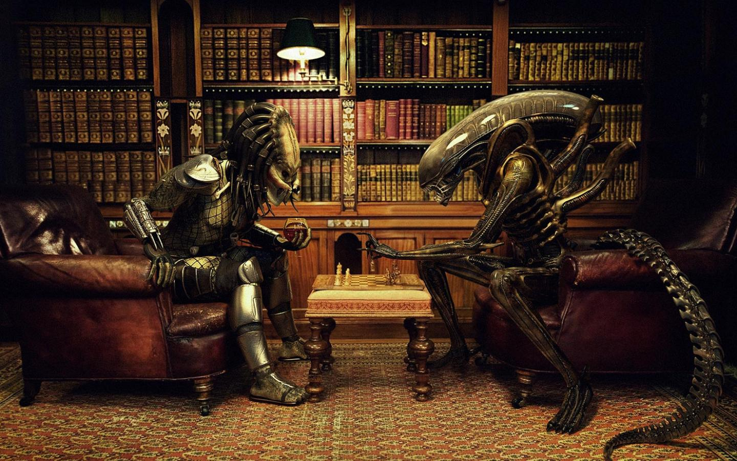 Обои Alien vs Predator, с юмором 1440x900