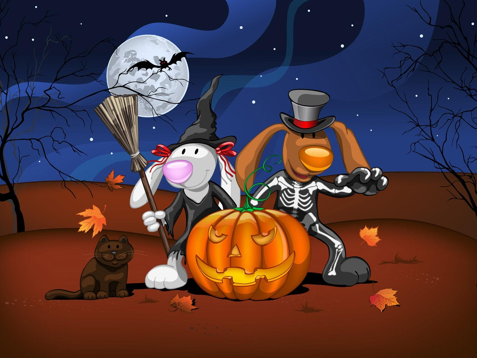 Обои Halloween avec chat 1600x1200