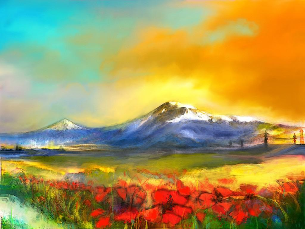 Пейзаж альпийский луг обои 1024x768