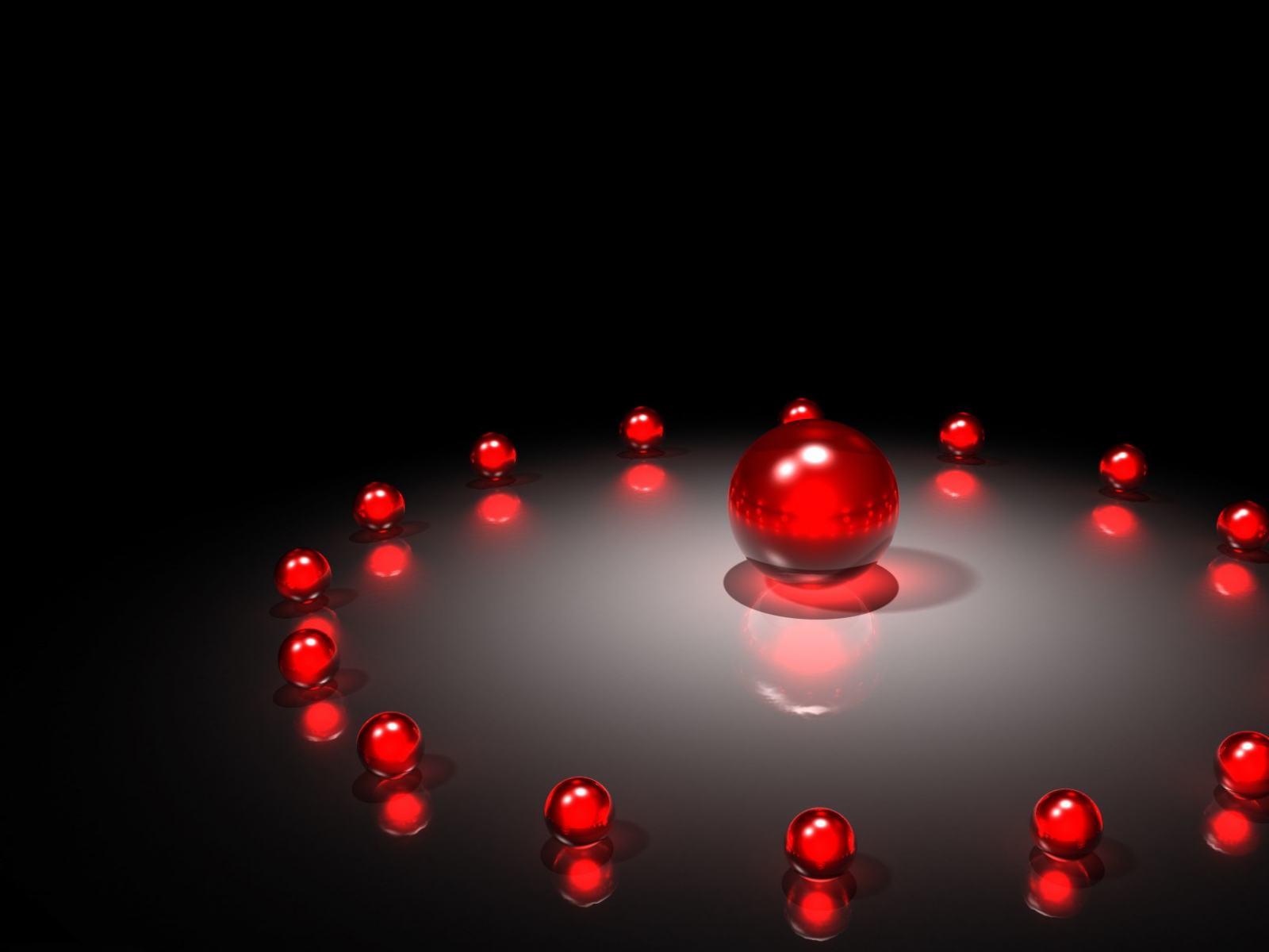 49149db5469 Скачать обои Красные стеклянные шары - 3D композиция на рабочий стол  1600x1200