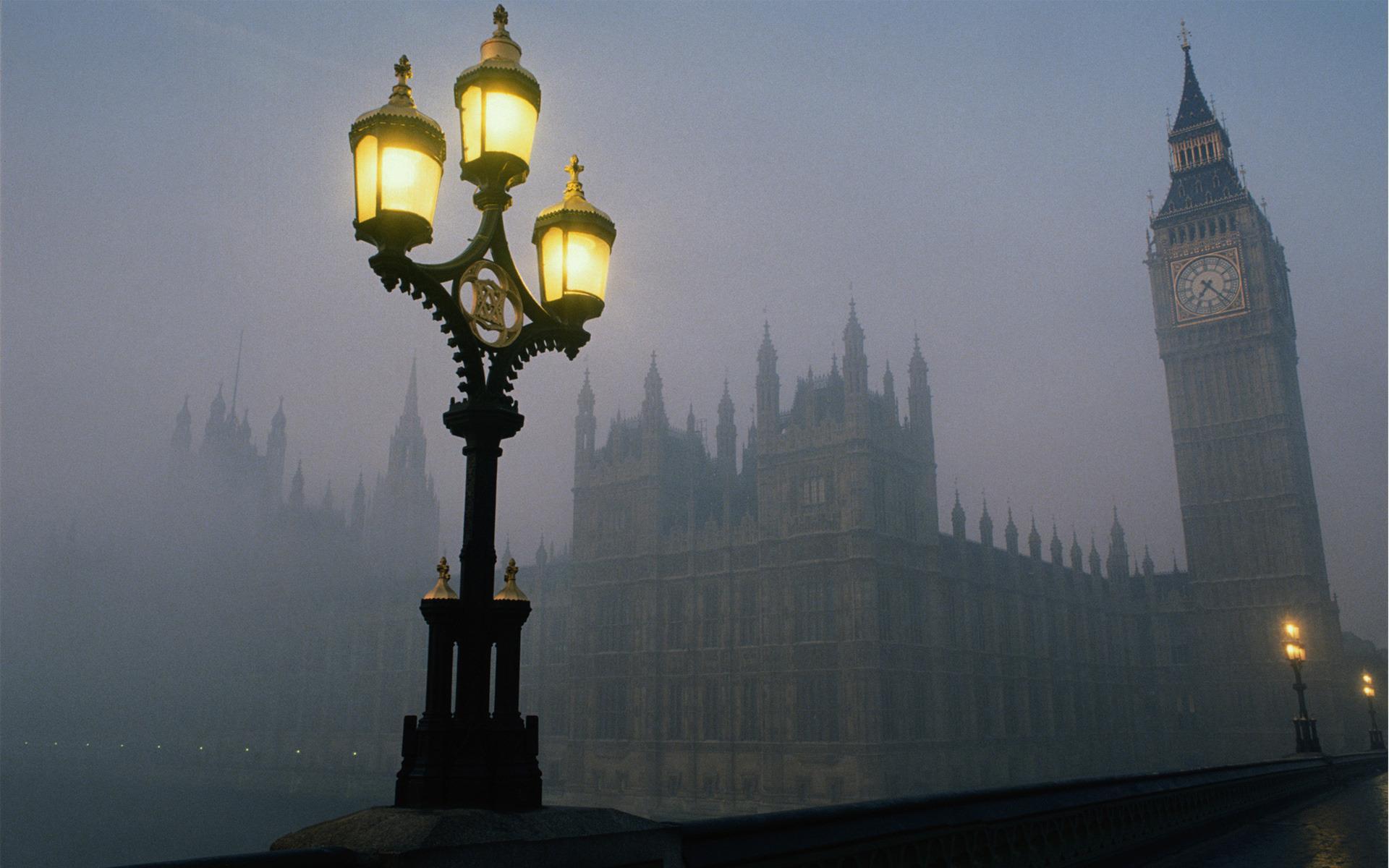 Обои лондон утро биг бен часы 1920x1200