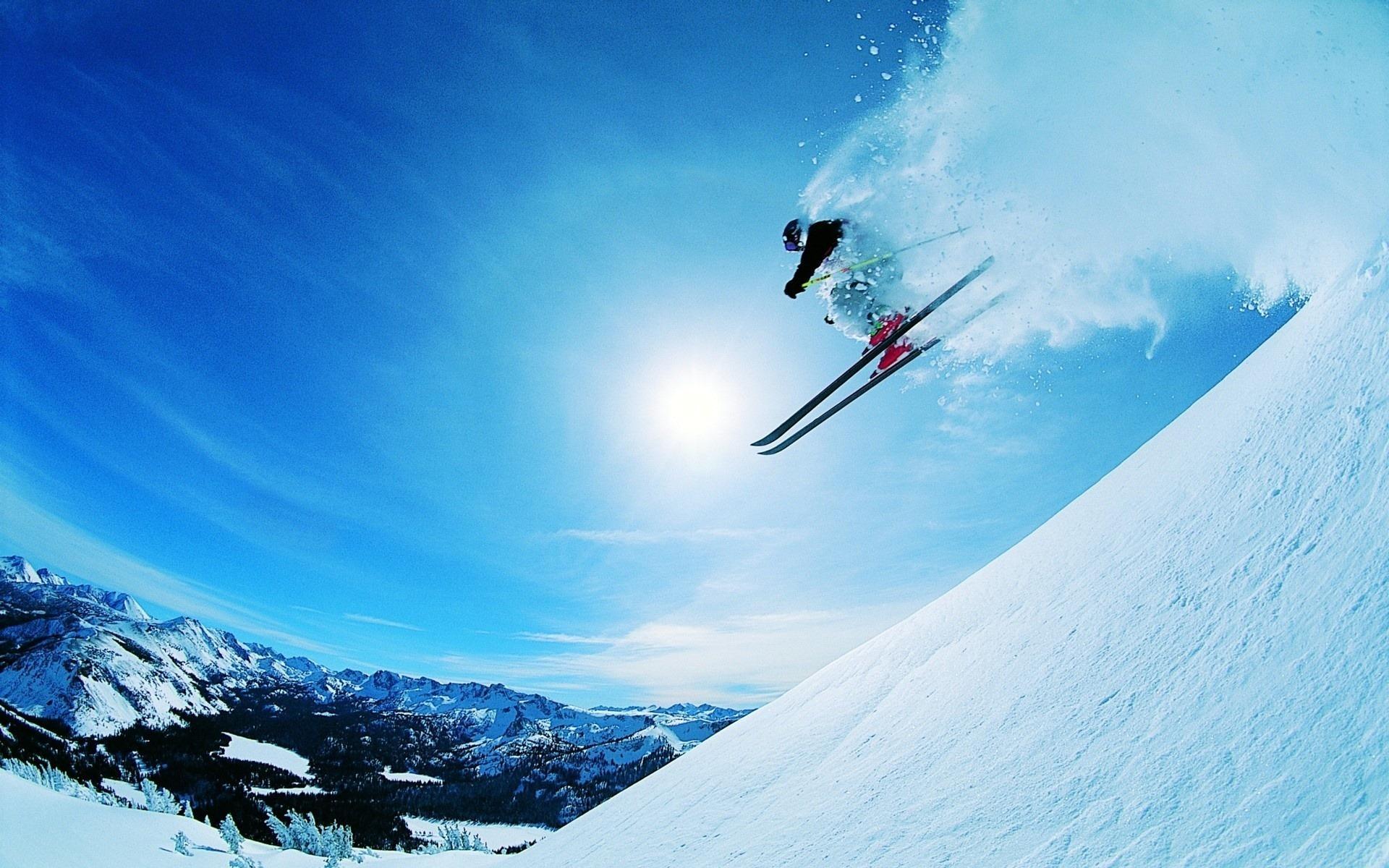 Обои спуск, Лыжи, лыжник. Спорт foto 17