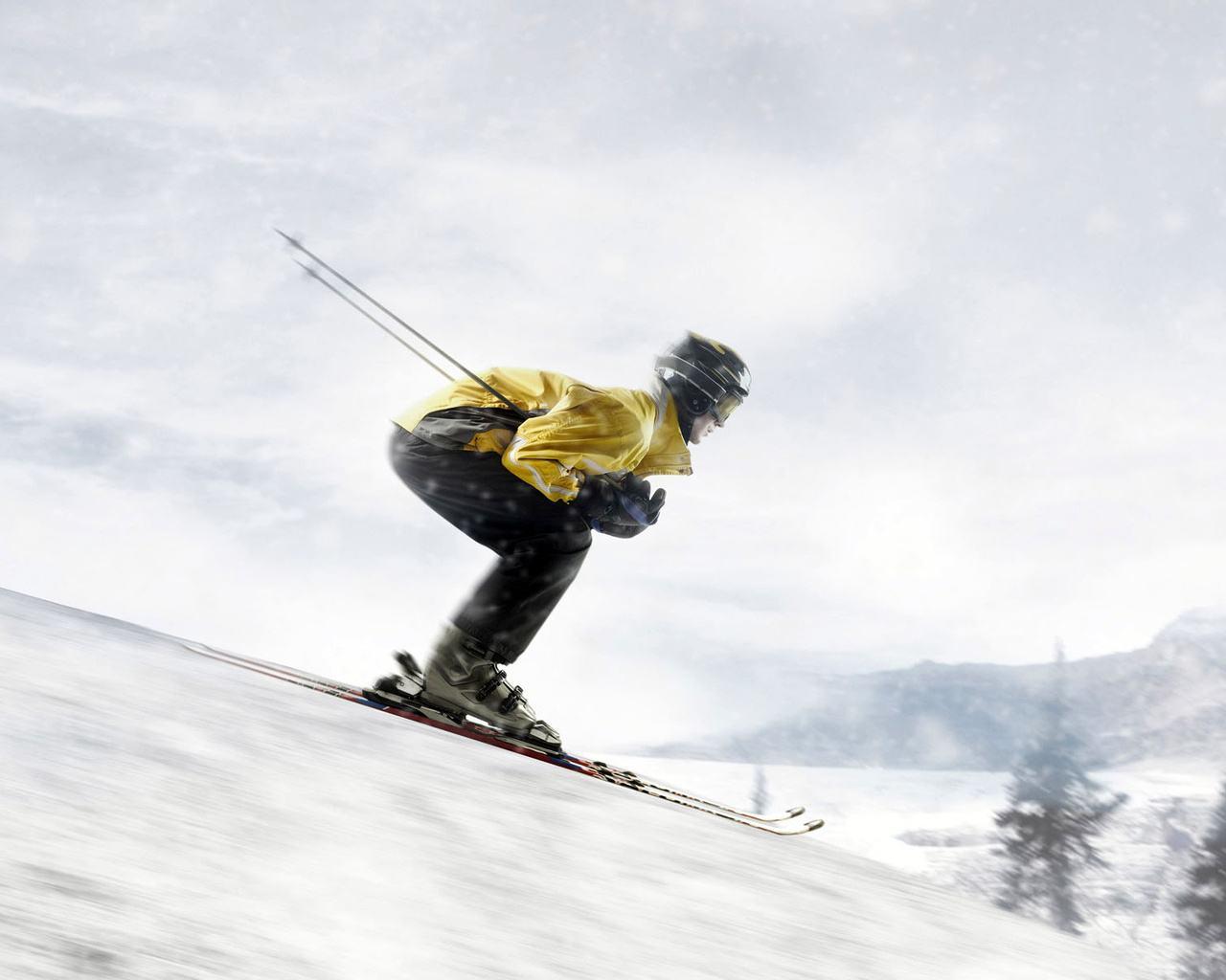 Обои лыжник, спуск, склон. Спорт foto 11