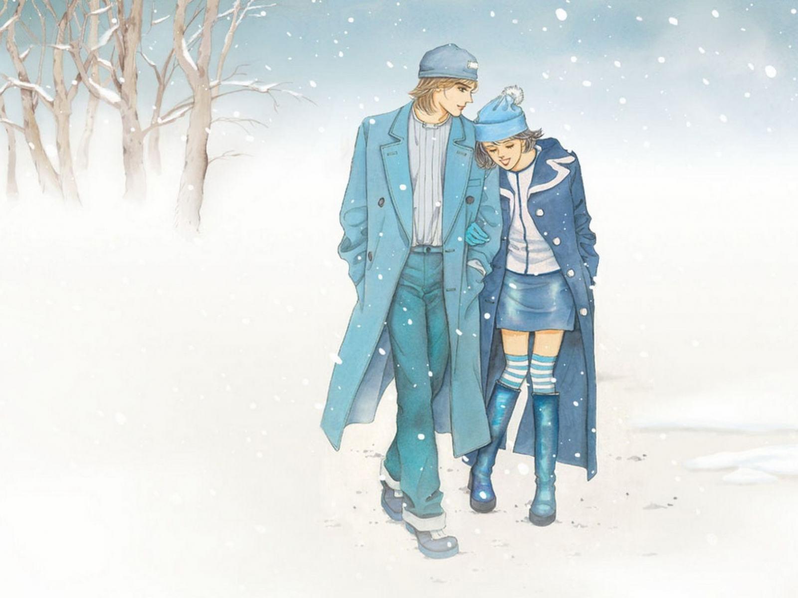 Картинки молодой пары зимой