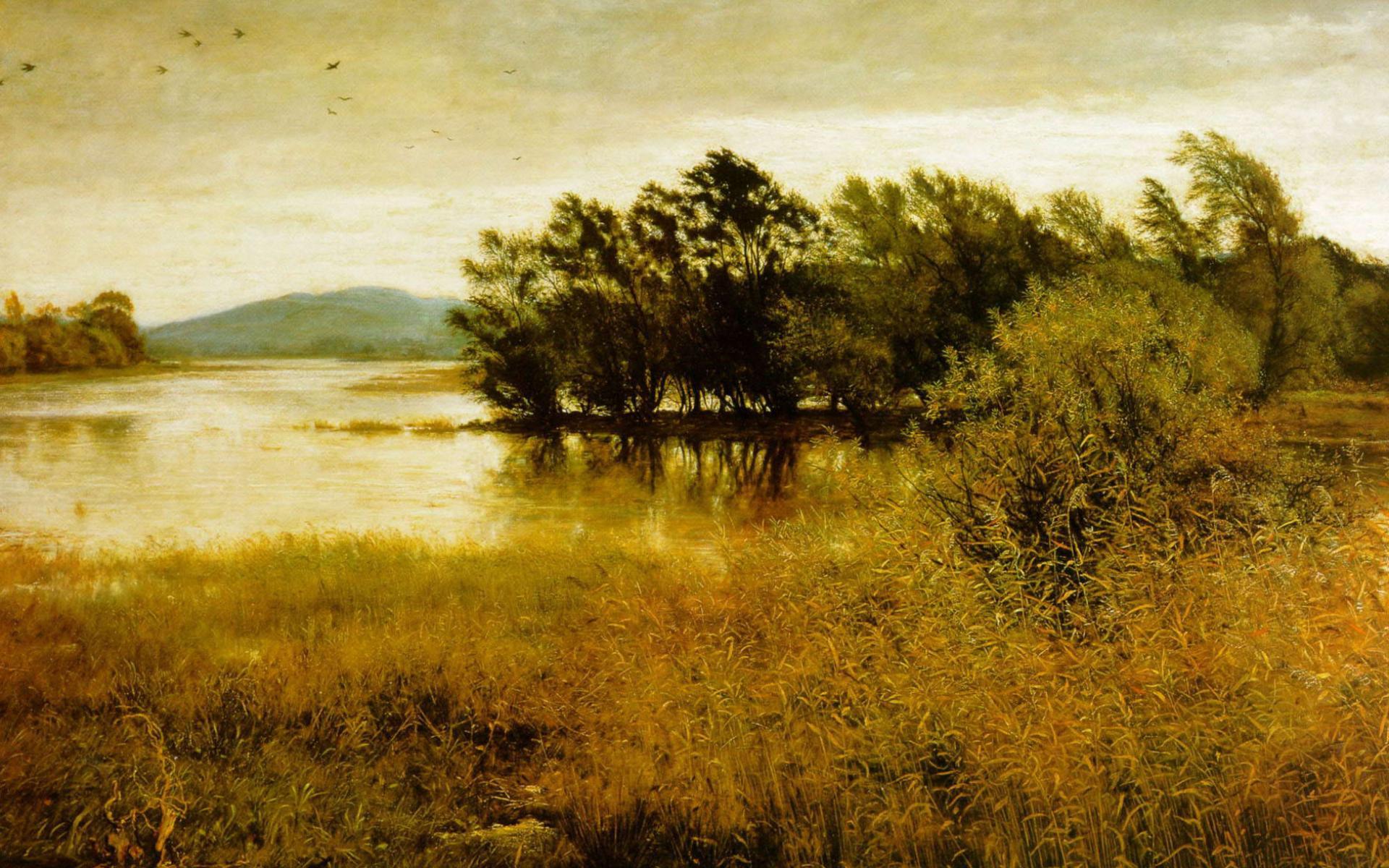 Обои нарисованный пейзаж 1920x1200