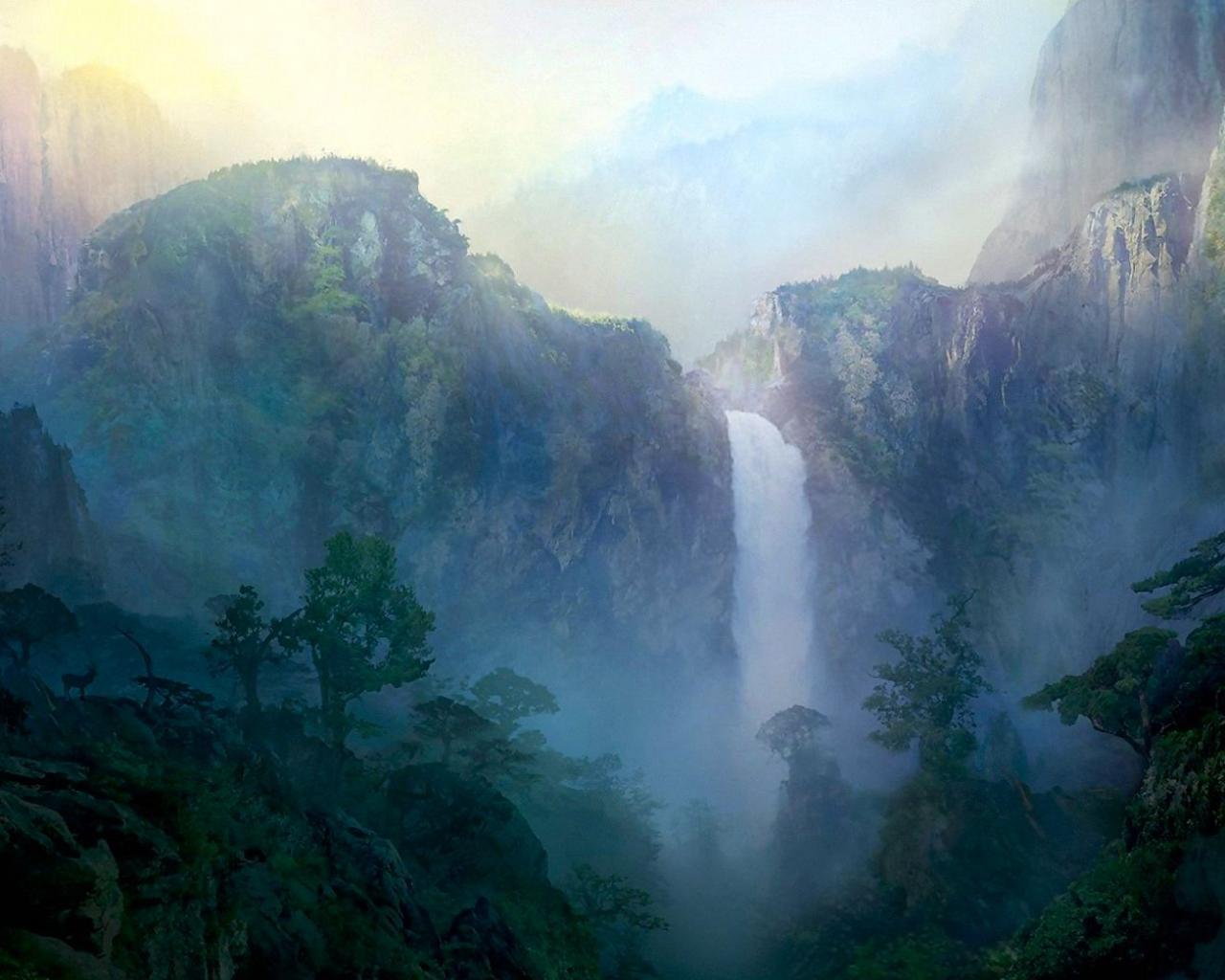Обои нарисованный водопад 1280x1024