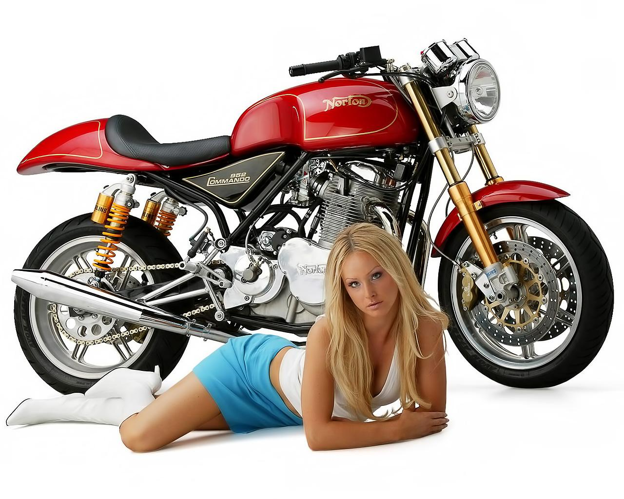 Обои Norton 952 Commando and Babe 1280x1024