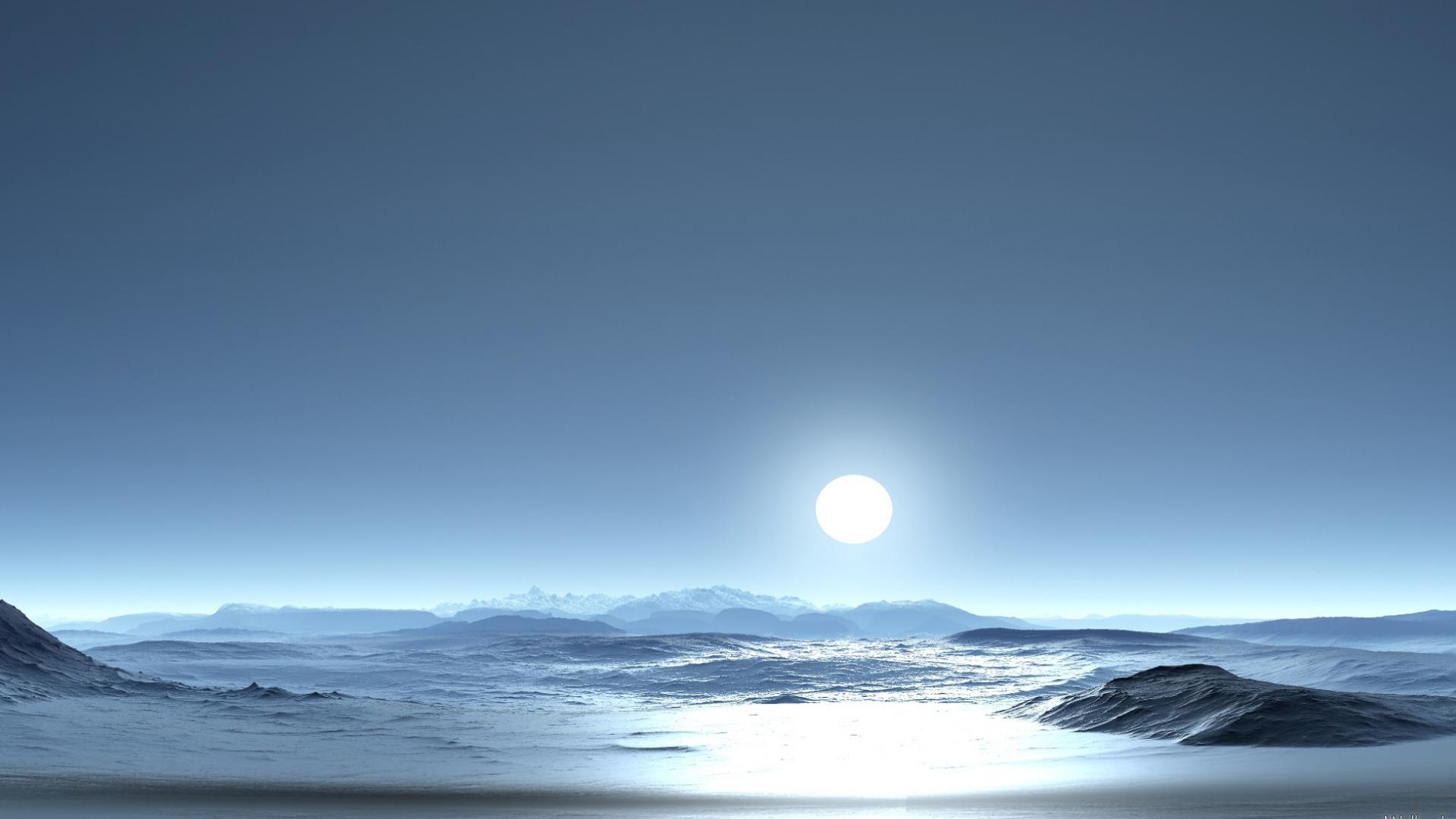 Скачать обои одинокая луна 1920x1080
