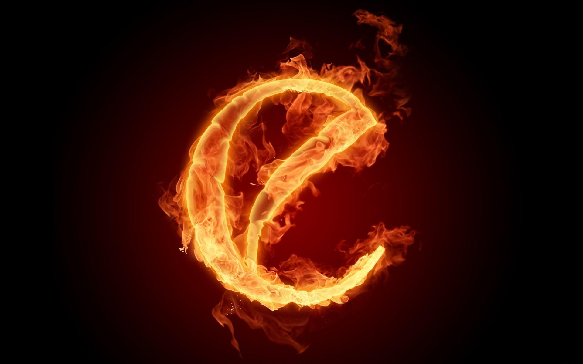 Огненный алфавит буква E обои 1920x1200.