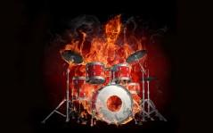 Fire drummer, music - 2560x1600