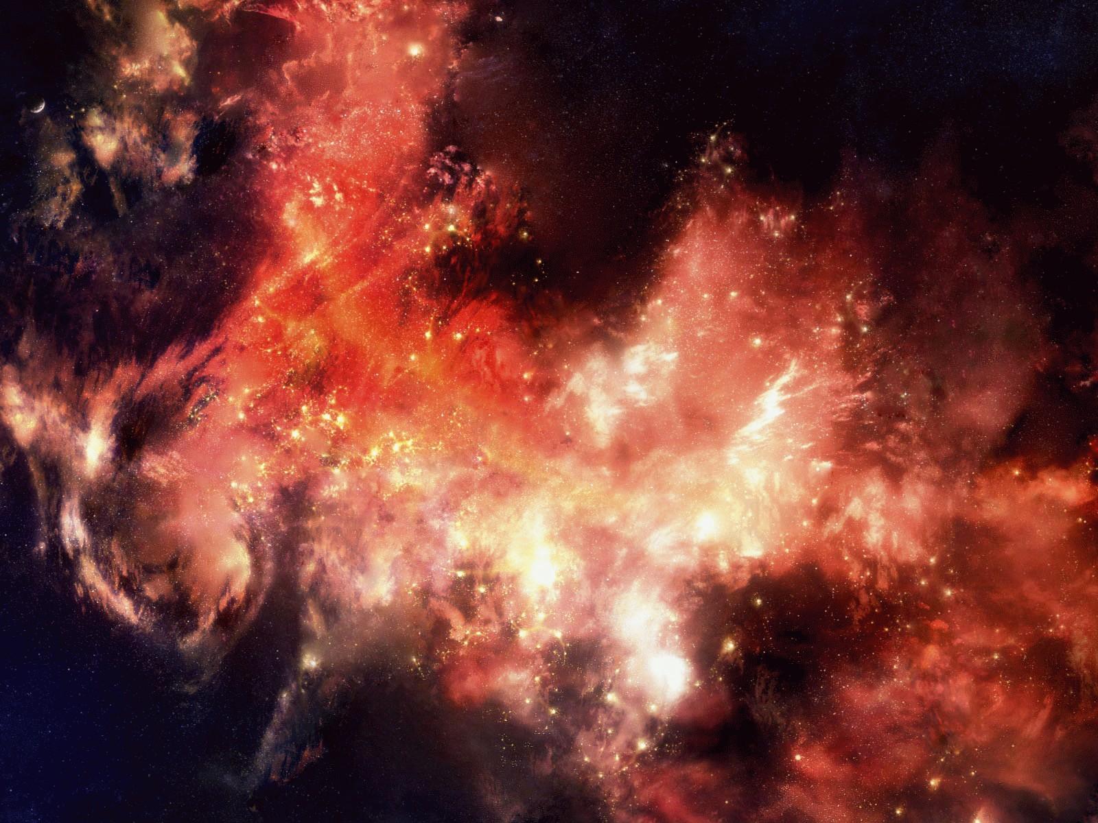 Скачать обои огненный космос 1600x1200