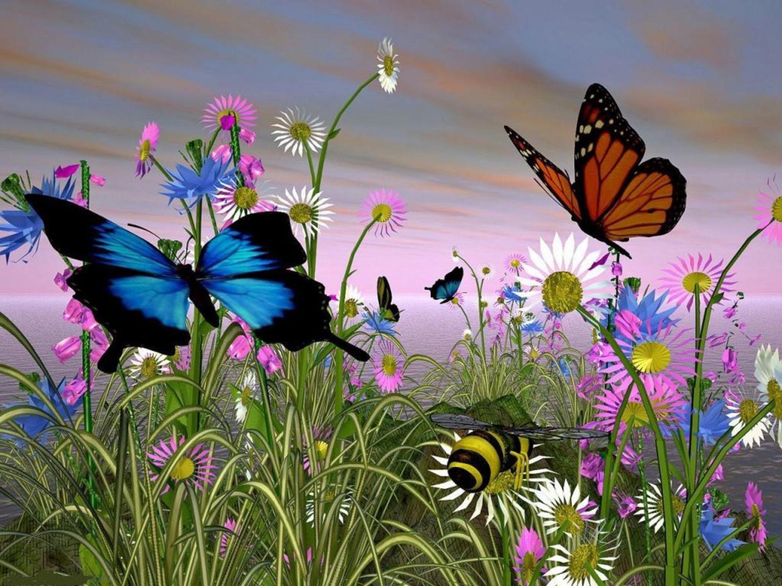 Скачать обои порхающие бабочки 1600x1200