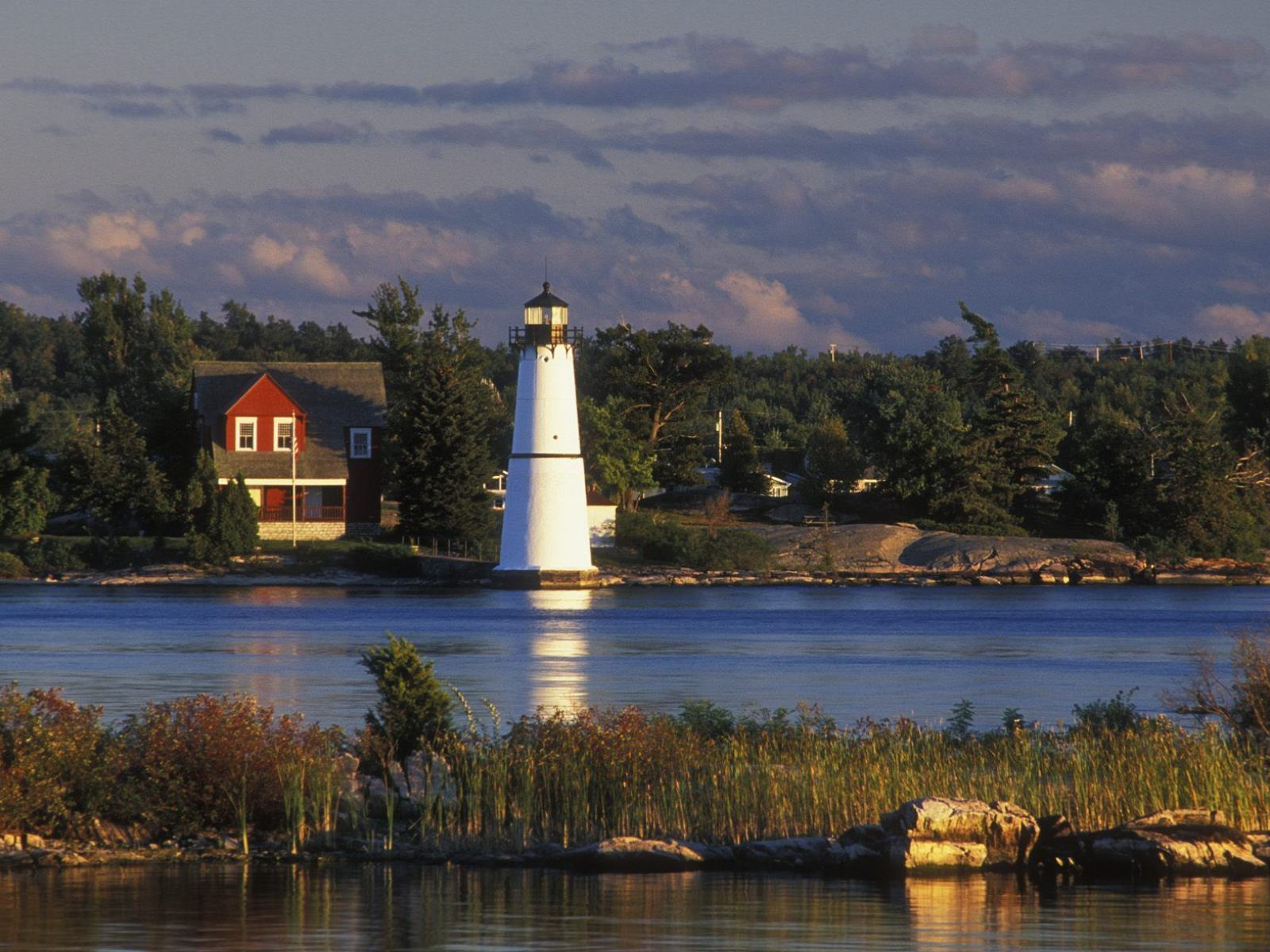 Обои Rock Island Lighthouse, St. Lawrence River, New York 1600x1200