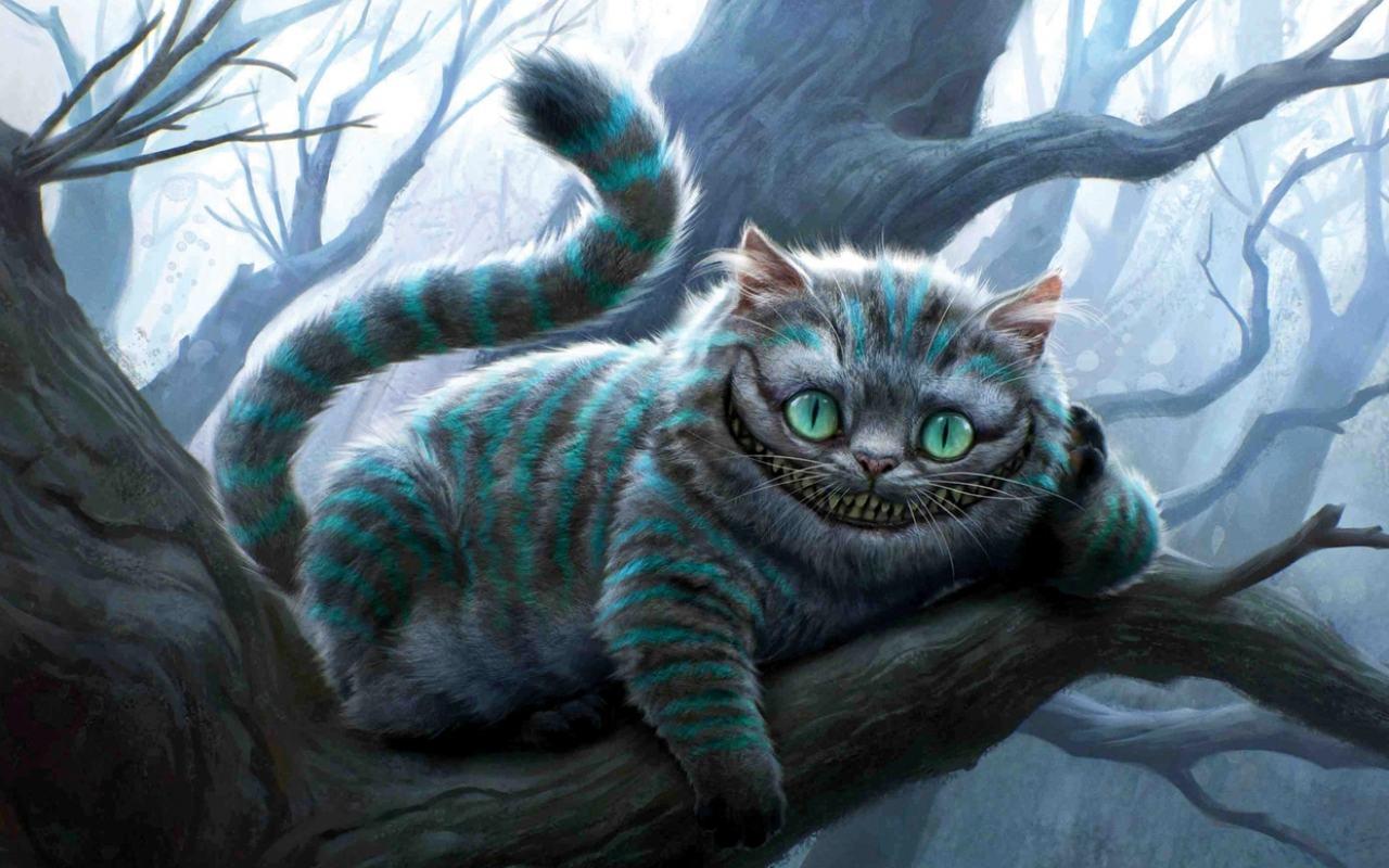 Кот алиса в стране чудес обои 1280x800