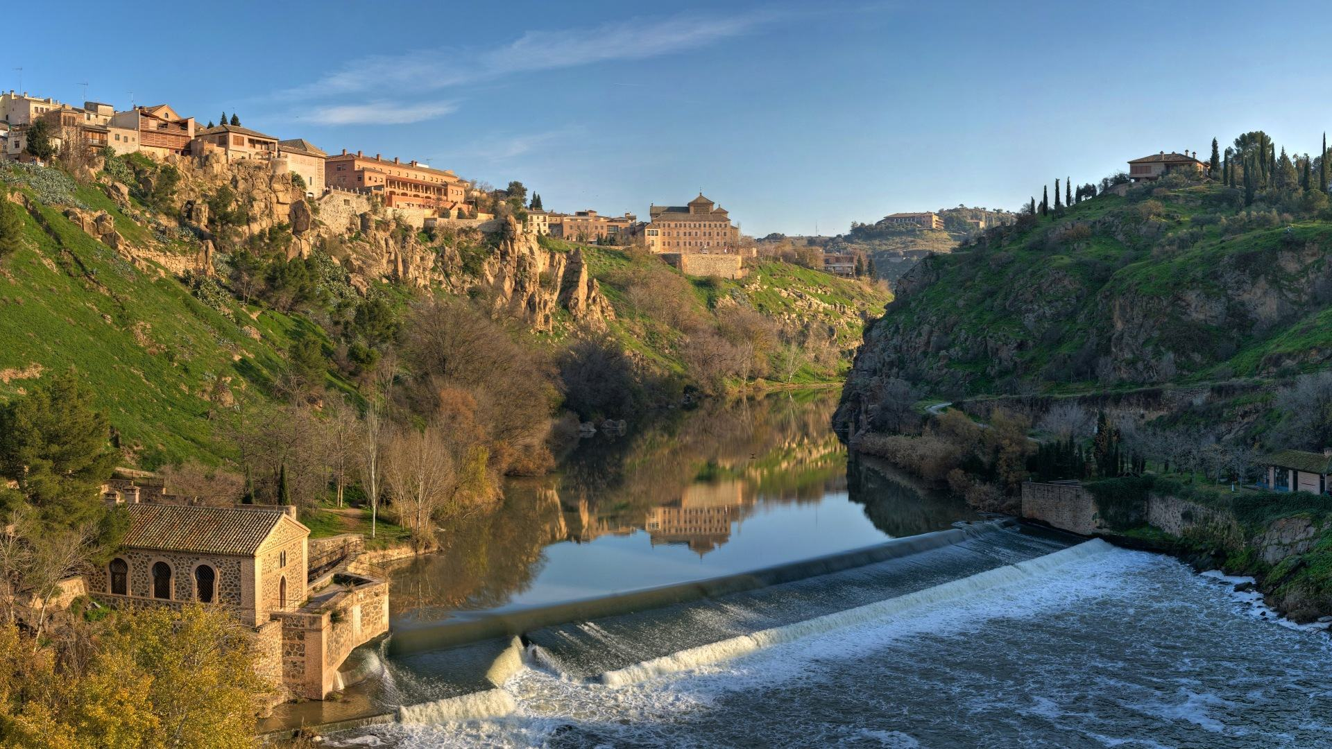 Обои Tagus River Panorama - Toledo, Spain -(Part 1) 1920x1080