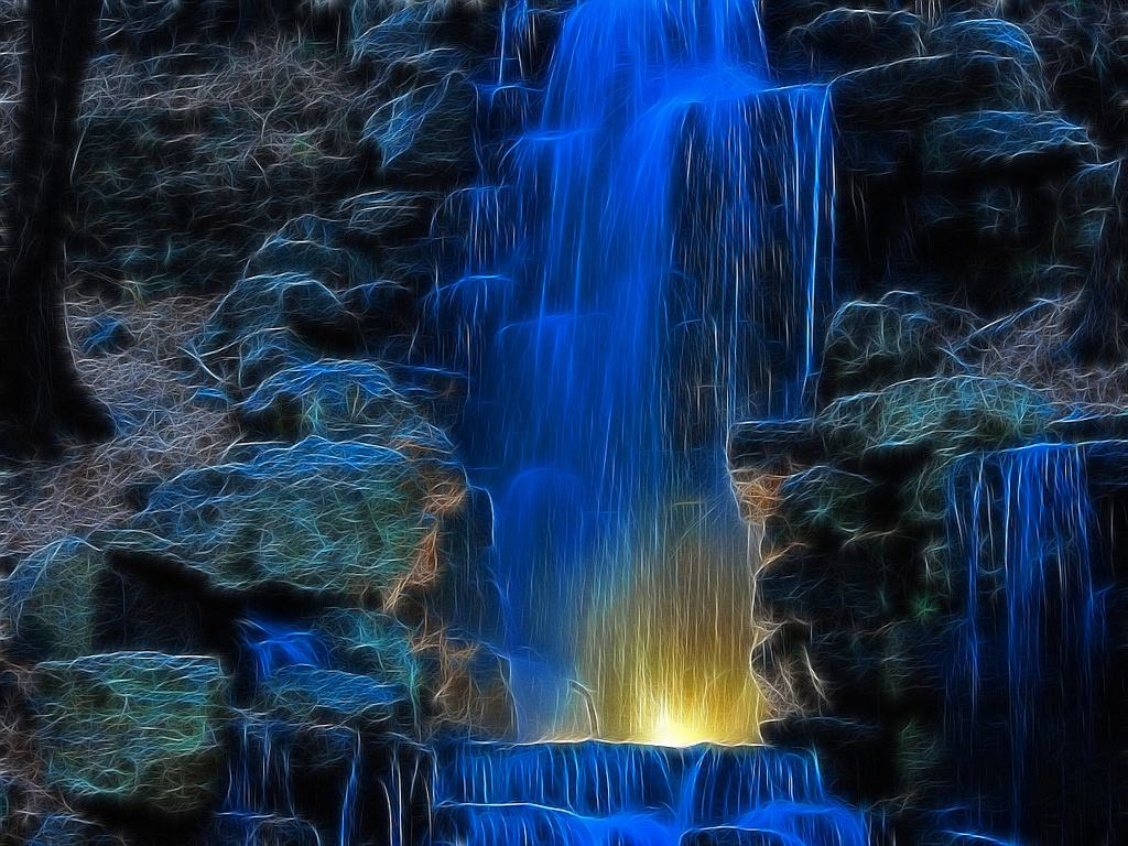 Водопад нарисованный светом обои 1024x768