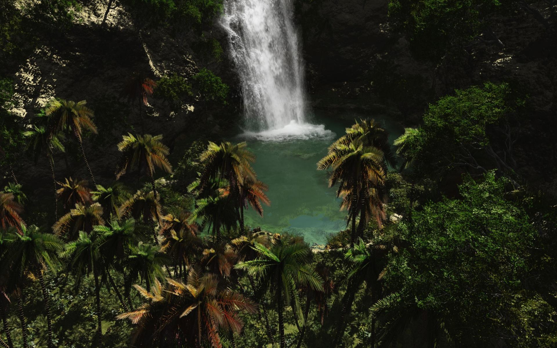 Обои водопад в тропиках 1920x1200