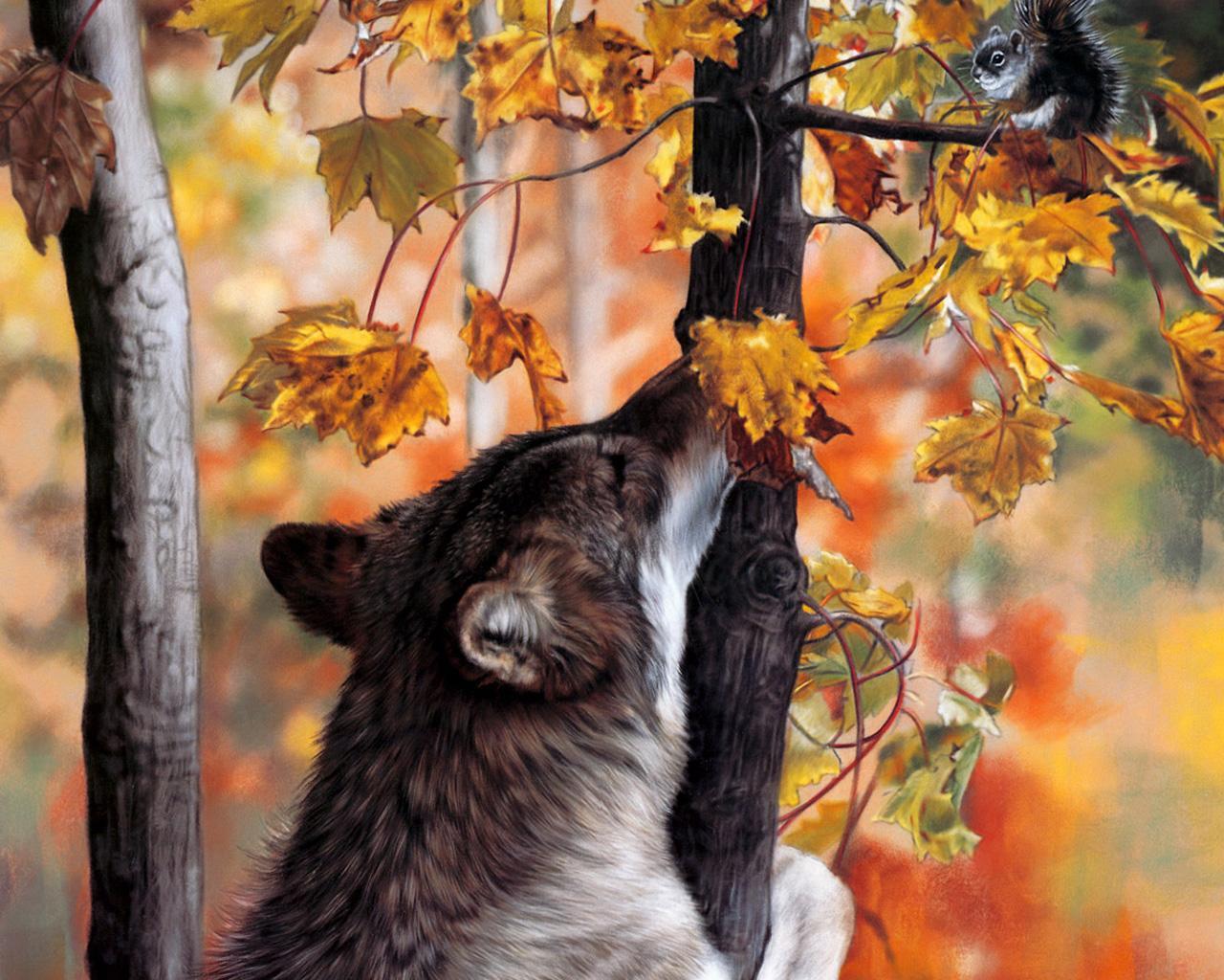 Животные в осеннем лесу картинки для детей