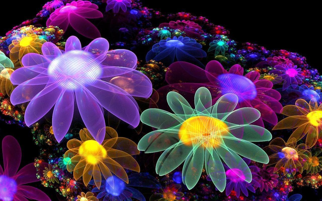 Скачать обои яркие трехмерные цветы